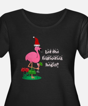 Christmas flamingo T