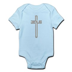 Gold Diamond Jesus Cross Infant Bodysuit