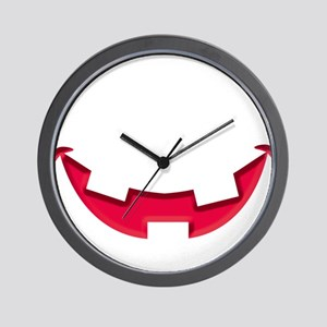 Smiley Halloween Mouth Red Wall Clock