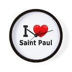 I Love Saint Paul Wall Clock