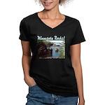 Minnesota Rocks! Women's V-Neck Dark T-Shirt