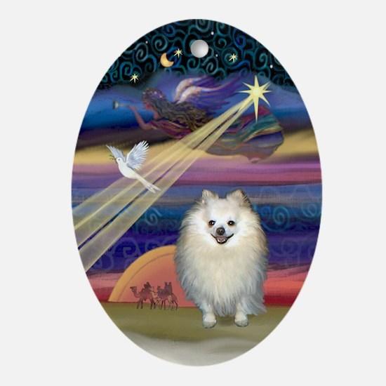 Pomeranian & Christmas Star Oval Ornament