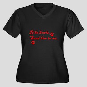 If He Howls Women's Plus Size V-Neck Dark T-Shirt