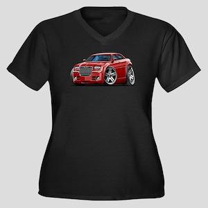 Chrysler 300 Maroon Car Women's Plus Size V-Neck D
