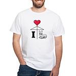 I Love Corgi Black Line White T-Shirt