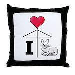 I Love Corgi Black Line Throw Pillow