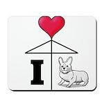 I Love Corgi Black Line Mousepad