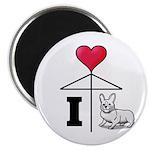 I Love Corgi Black Line Magnet