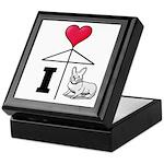 I Love Corgi Black Line Keepsake Box