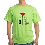 I Love Corgi Black Line Green T-Shirt