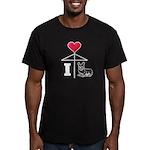 I Love Corgi White Line Men's Fitted T-Shirt (dark