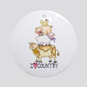 I Love Country Ornament (Round)