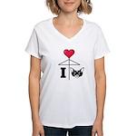 I Love Chihuahua Black Women's V-Neck T-Shirt