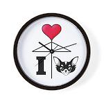 I Love Chihuahua Black Wall Clock