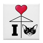 I Love Chihuahua Black Tile Coaster