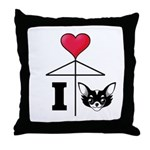 I Love Chihuahua Black Throw Pillow