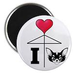 I Love Chihuahua Black Magnet