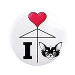 "I Love Chihuahua Black 3.5"" Button (100 pack)"