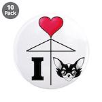 "I Love Chihuahua Black 3.5"" Button (10 pack)"