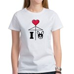 I Love French Bulldog Black Women's T-Shirt