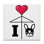 I Love French Bulldog Black Tile Coaster