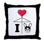 I Love French Bulldog Black Throw Pillow