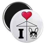 I Love French Bulldog Black Magnet