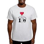 I Love French Bulldog Black Light T-Shirt