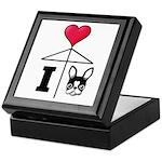 I Love French Bulldog Black Keepsake Box