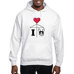 I Love French Bulldog Black Hooded Sweatshirt