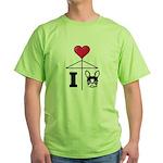 I Love French Bulldog Black Green T-Shirt