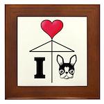 I Love French Bulldog Black Framed Tile