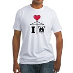 I Love French Bulldog Black Fitted T-Shirt