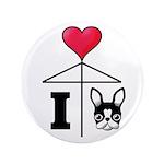 "I Love French Bulldog Black 3.5"" Button (100"