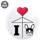 "I Love French Bulldog Black 3.5"" Button (10 p"