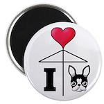 "I Love French Bulldog Black 2.25"" Magnet (10"