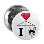 "I Love French Bulldog Black 2.25"" Button (100"