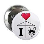 "I Love French Bulldog Black 2.25"" Button (10"