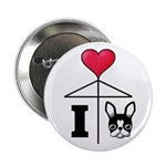 "I Love French Bulldog Black 2.25"" Button"
