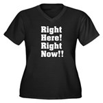 Right Here! Right Now!! White Women's Plus Size V-
