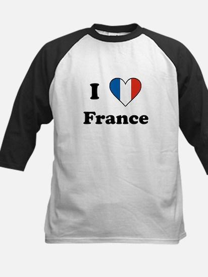 I Love France Kids Baseball Jersey