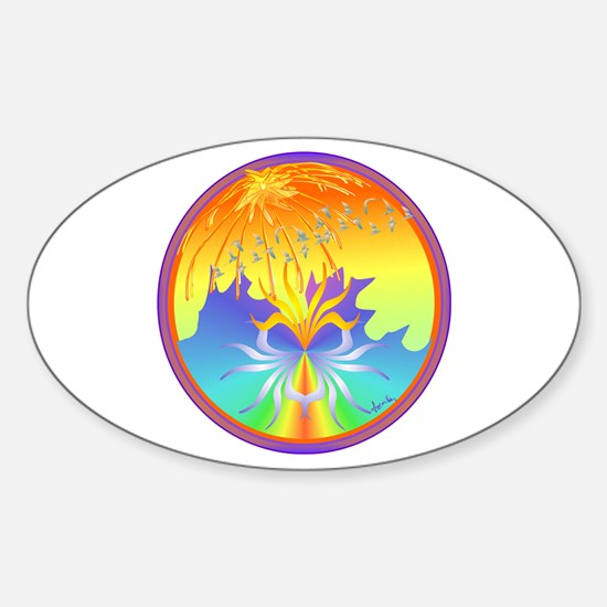 Sunset Healing OM Mandala Oval Decal