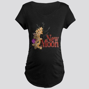 New Moon Movie Flower Design Maternity Dark T-Shir