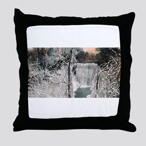 1906 Winter Minnehaha Falls Throw Pillow