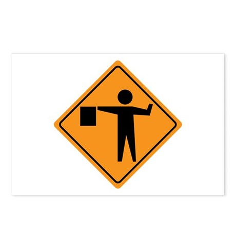 Flag Man Construction Sign Postcards (Package of 8