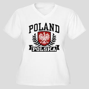 Poland Polska Women's Plus Size V-Neck T-Shirt
