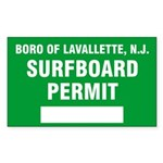 Lavallette Surfboard Permit Rectangle Sticker