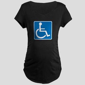 Handicapped Sign Maternity Dark T-Shirt