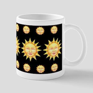 Drowsy Eyed Sunface on Black Mug