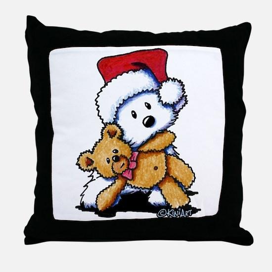 Christmas Teddy Bear Westie Throw Pillow